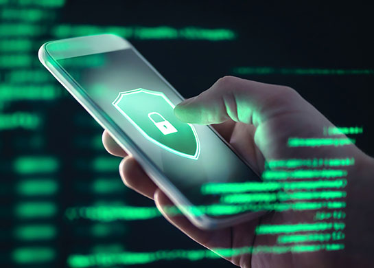 Personal data being protected on a mobile device.