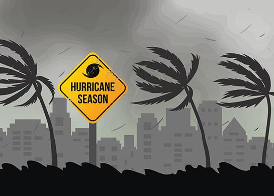 Cartoon depiction of hurricane season.