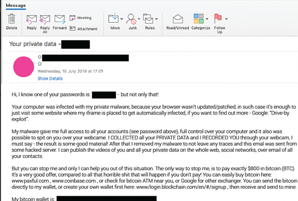 Example of a blackmail phishing email.